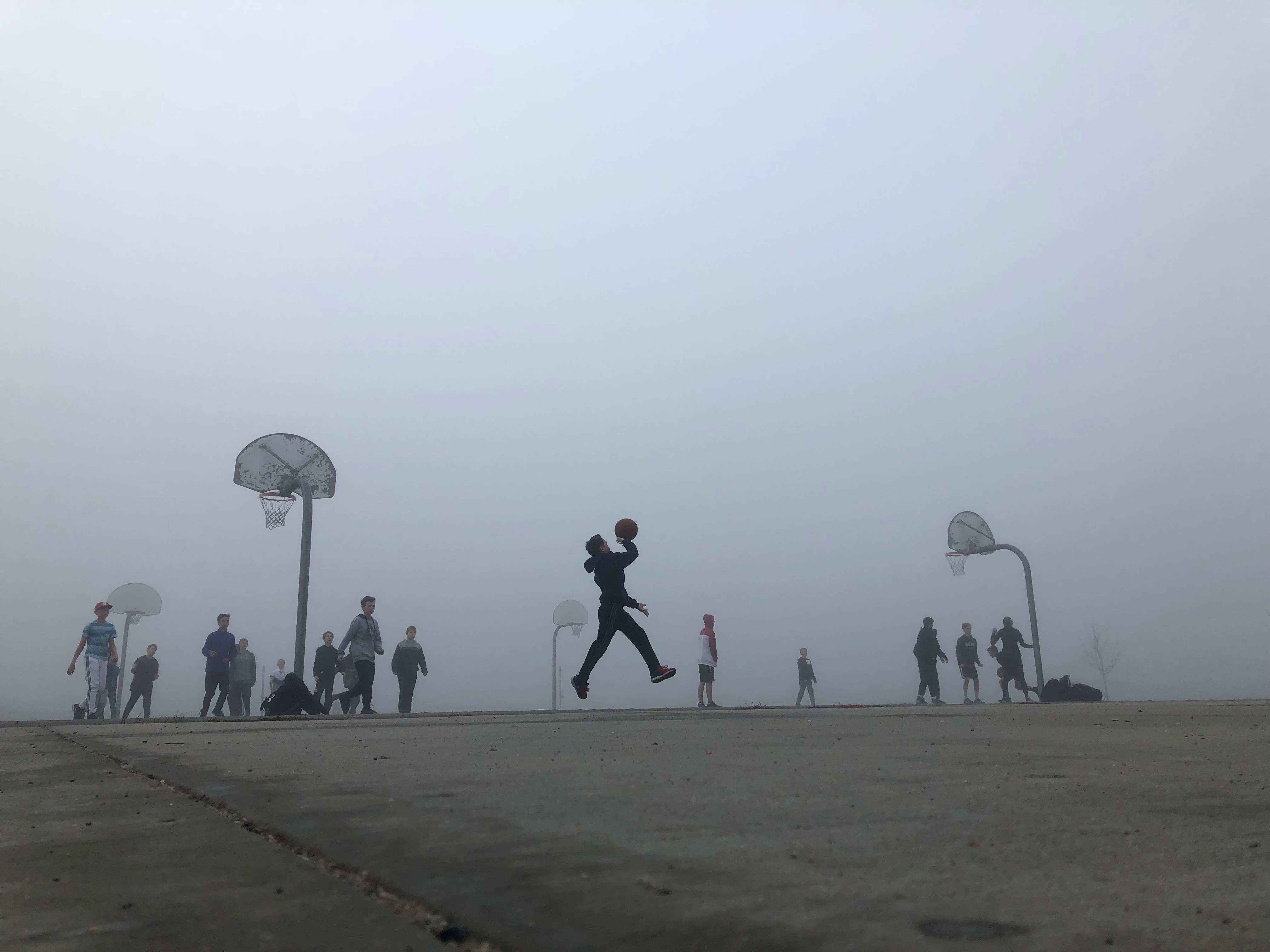 Knox Student Snaps a Foggy Morning on the Basketball Courts